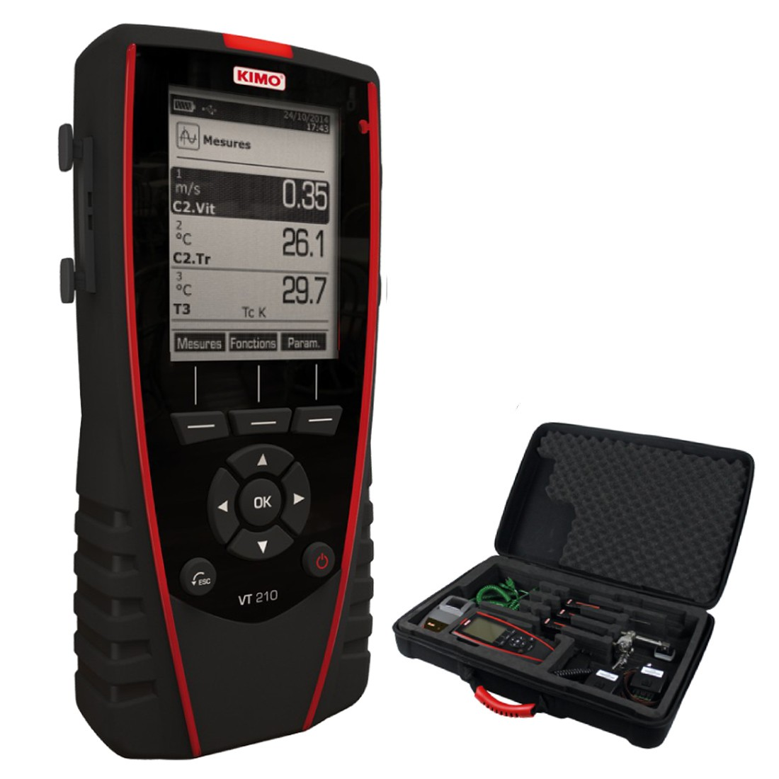 KIMO VT 210 Multifunktionsthermoanemometer, Hygrometer